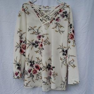 Lulus white floral crisscross neck blouse 4xl